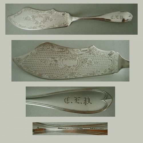 "Bigelow, Kennard ""Oval Thread"" c. 1870 Sterling Silver Fish Slice"
