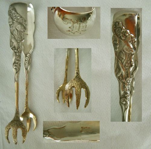 "Gorham ""Hizen"" Aesthetic Movement Sterling Silver Sugar Tongs"