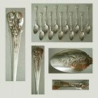 "12 Whiting Art Nouveau ""Grape"" Sterling Silver Coffee Spoons"