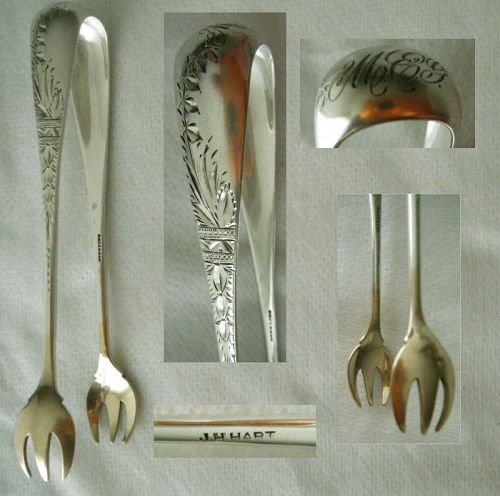 J.H. Hart, Brooklyn, Bright Cut Sterling Silver Sugar Tongs