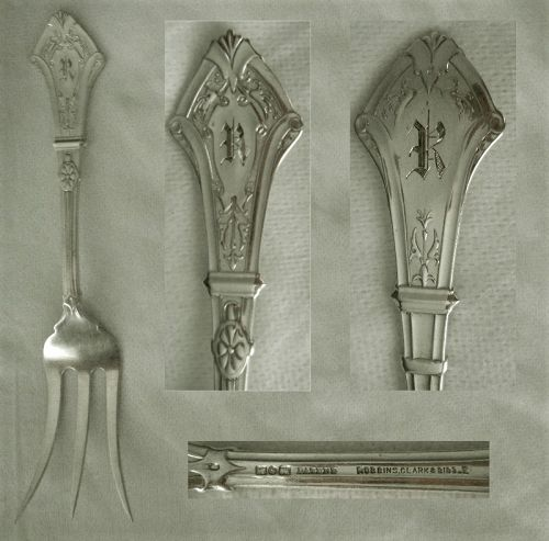 "George Sharp ""Emperor"" Unusual Coin Silver Serving Fork"