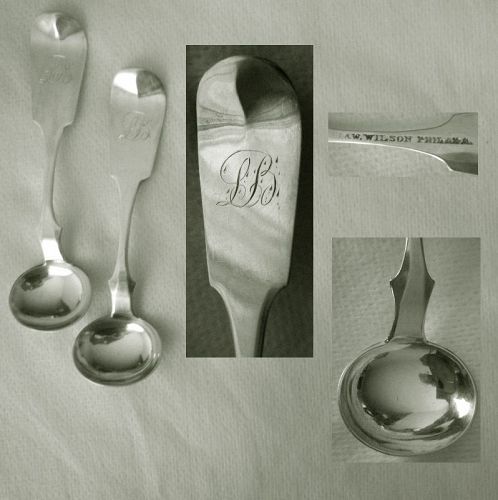 "Pair R.&W. Wilson, Philadelphia, ""Tipt"" End Coin Master Salt Spoons"