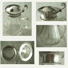 Sterling Top with Panel Cut Glass Base Syrup Jug or Pitcher