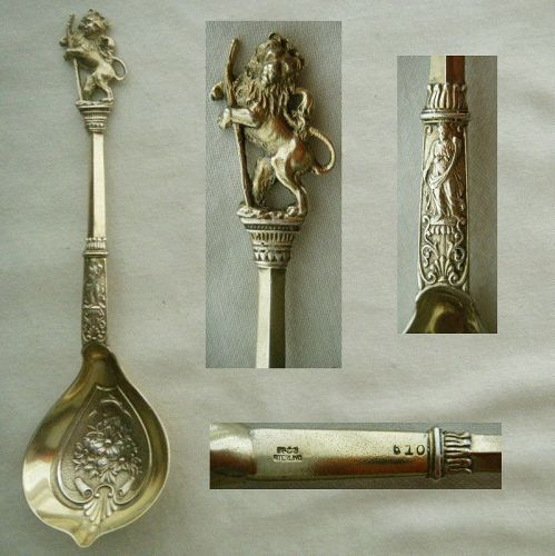 "Gorham ""Rampant Lion"" No. 610 Sterling Silver Confection Spoon"