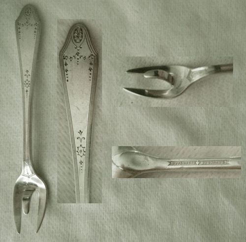 "Tiffany ""Clinton Engraved"" Sterling Silver Lemon Fork with Spur"