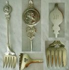 "Applied ""Medallion"" Coin Silver Sardine Fork"