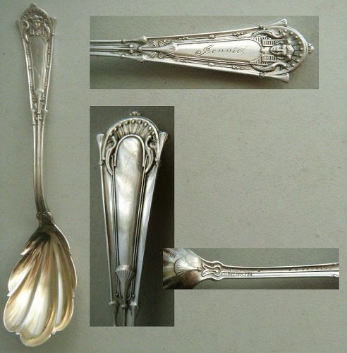 "Whiting ""Egyptian"" Sterling Silver Sugar Spoon Engraved ""Jennie"""