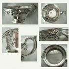 Wm. B. Kerr Art Nouveau Floral Large Sterling Silver Handled Cup
