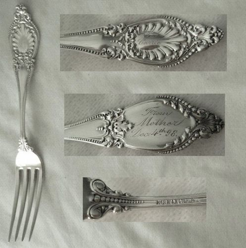 "Wallace ""Sappho"" Sterling Silver Tea or Dessert Fork Engraved ""Carrie"""