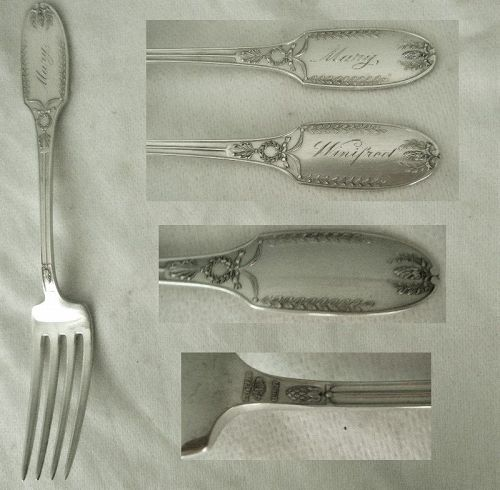 "Two Alvin ""Marie Antoinette"" Sterling Silver Dinner Forks"