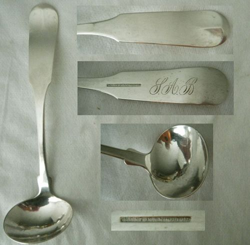 "Boynton & Woodford, Boston, ""Tipt"" Coin Silver Cream Ladle"