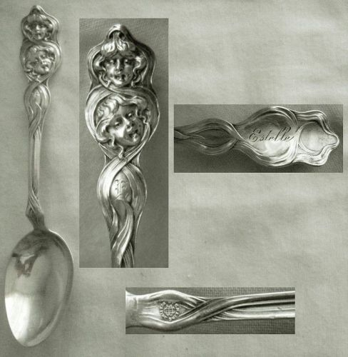 "Unger Brothers ""Cupid Sunbeams"" Sterling Silver Teaspoon, ""Estelle"""