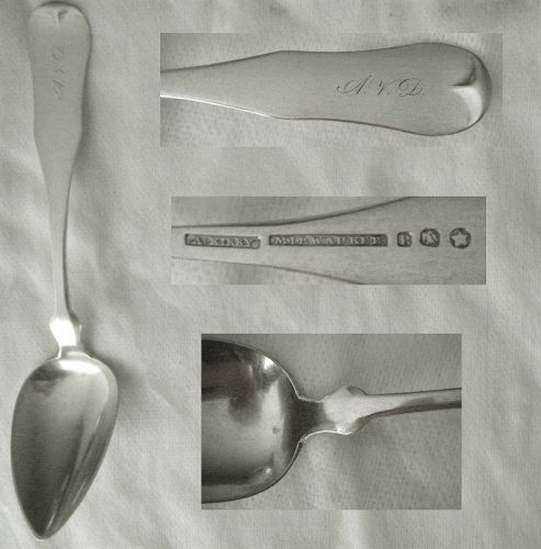 "Abner Kirby, Milwaukee, ""Fiddle Tipt"" Coin Silver Place Spoon"