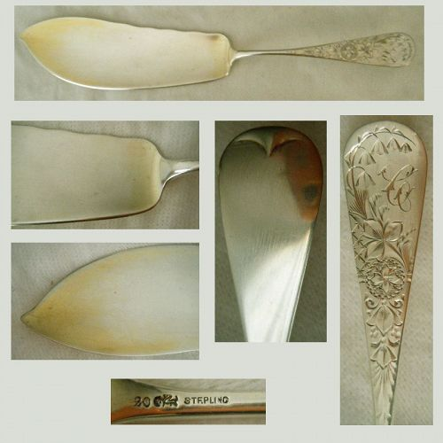 "Whiting ""Lily Engraved"" Solid Sterling Silver Fish Slice"