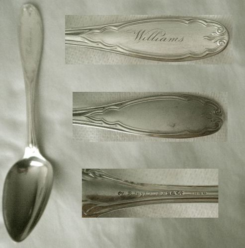 "Stebbins & Co. Pat. 1848 ""Gothic"" Coin Silver Place Spoon x 4"