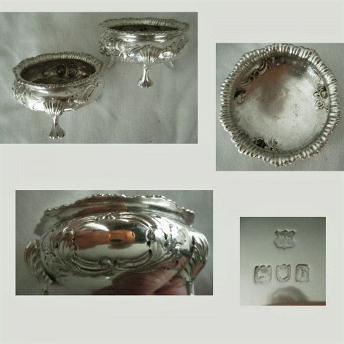 Gibson & Langman, London 1897, Pair Sterling Silver Master Salts