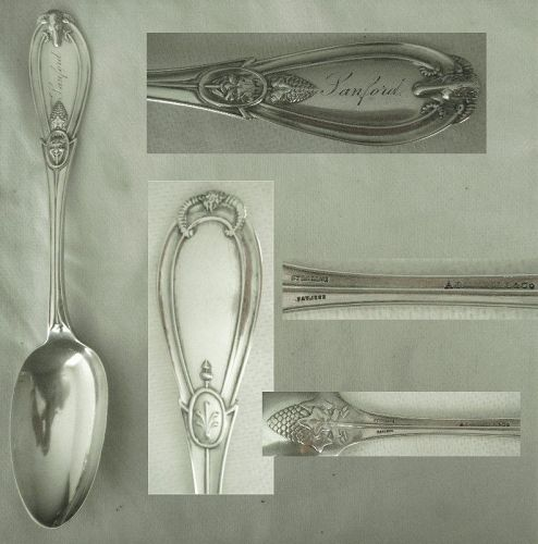 "Whiting ""Grecian"" A. Stowell & Co. Sterling Silver Serving Spoon"