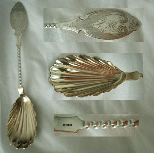 Twist Handle Engine Turned Coin Silver Berry Spoon circa 1860