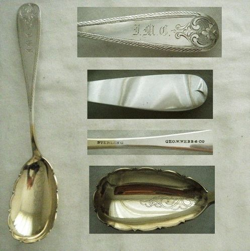 George Webb, Baltimore, Engraved Feather Edge Sterling Silver Spoon