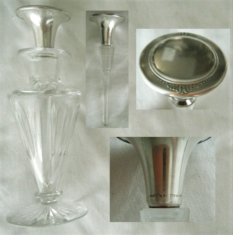 Wallace Sterling Top Cut Glass Perfume Bottle with Long Dipper