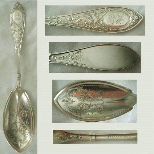 """Whiting """"Arabesque"""" Large Sterling Silver Serving Spoon"""