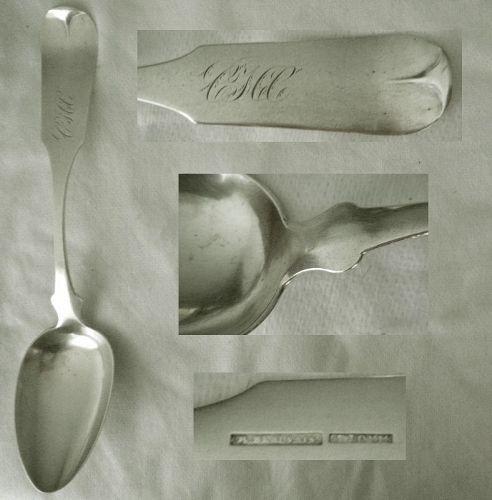 "Rene Beauvais, St. Louis, ""Tipt"" Coin Silver Table Serving Spoon x 2"