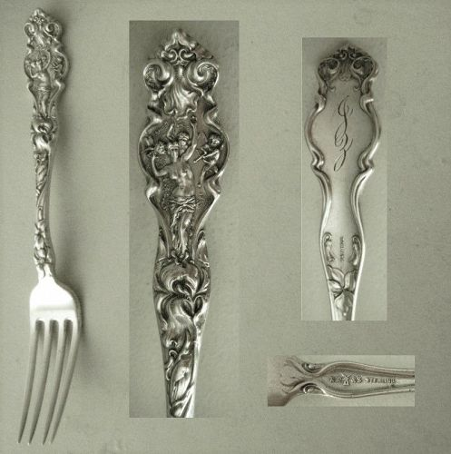 """Wallace Art Nouveau """"Irian"""" Sterling Silver Youth Fork"""
