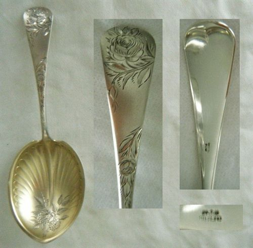 "Gorham ""Jac Rose"" Bright Cut Sterling Silver Vegetable Spoon"