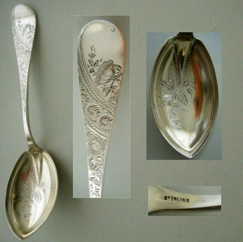 Aesthetic Bright Cut Floral Sterling Silver Serving Spoon