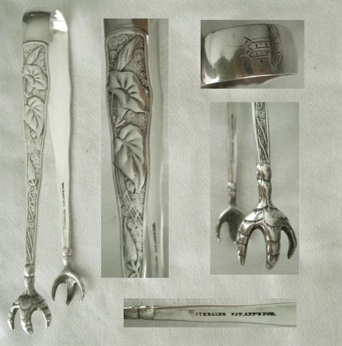 """Towle """"Orchids"""" Large Sterling Silver Sugar Tongs"""