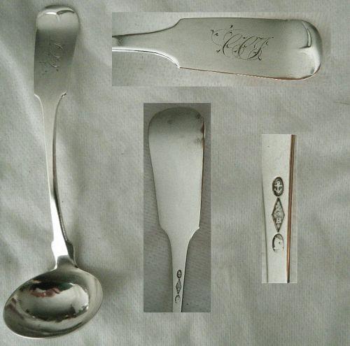 """Zalmon Bostwick, New York, """"Tipt"""" Coin Silver Cream Ladle"""