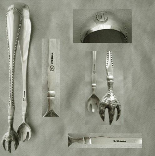 """Durgin """"Bead"""" Large Talon Grip Sterling Silver Tongs"""