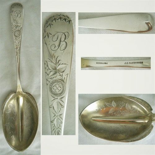 J S MacDonald, Baltimore, Engraved Large Sterling Silver Serving Spoon