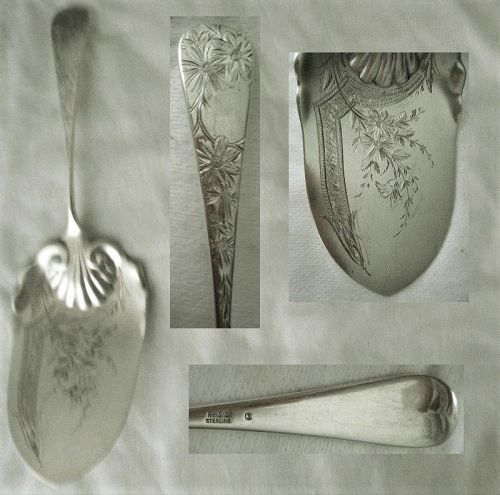 "Gorham ""Chrysanthemum"" Engraved Aesthetic Sterling Silver Pie Server"