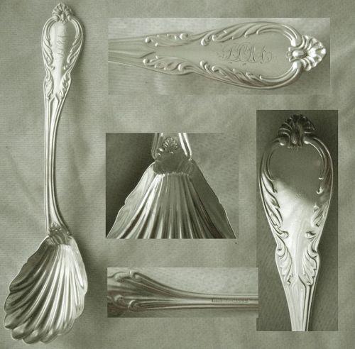 "Wm. W. White ""Leaf"" Coin Silver Shell Bowl Preserve Spoon"