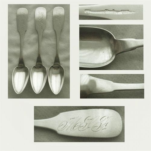 """Three Storrs & Cooley, Utica NY, c 1835 """"Fiddle"""" Coin Silver Teaspoons"""