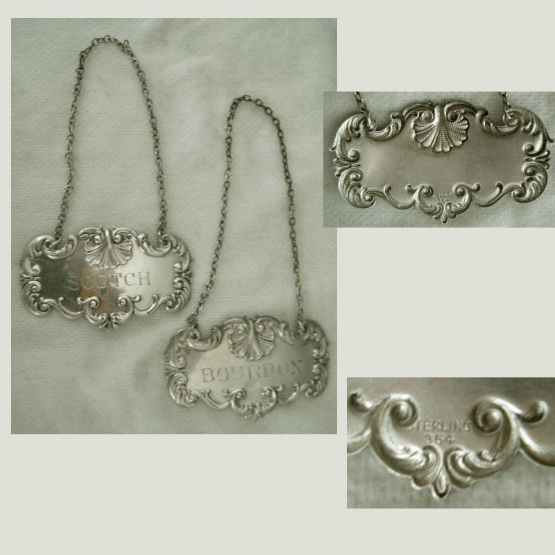 Georgian Style Sterling Silver Scotch and Bourbon Decanter Tags