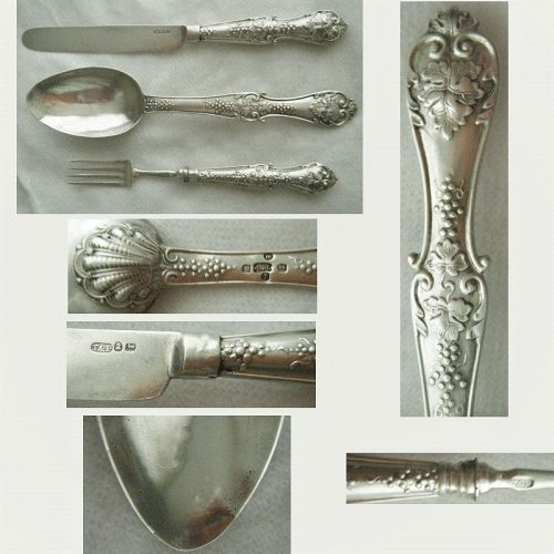 """Taylor & Perry 1833 """"Grape"""" Sterling Silver Knife, Fork, Spoon"""