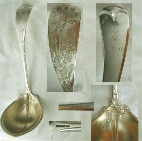Bailey Banks & Biddle Bright Cut Sterling Silver Bouillon Ladle