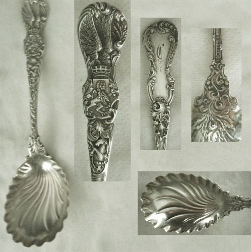 "Durgin ""Heraldic"" Sterling Silver Fluted Bowl Preserve Spoon"