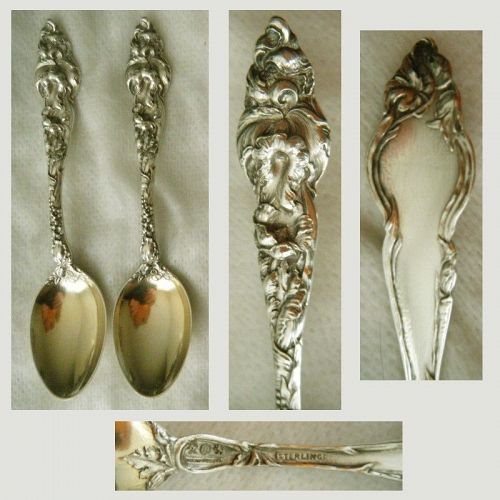 "Reed & Barton ""Les Six Fleurs"" Pair Sterling Silver Coffee Spoons"