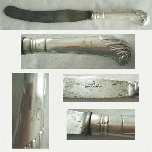 "F B Thomas, London 1894, ""Pistol Grip"" Sterling Silver Banquet Knife"