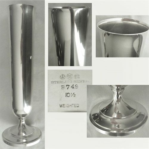 """Watson 10 1/2"""" Tall Sterling Silver Footed Flower Vase"""