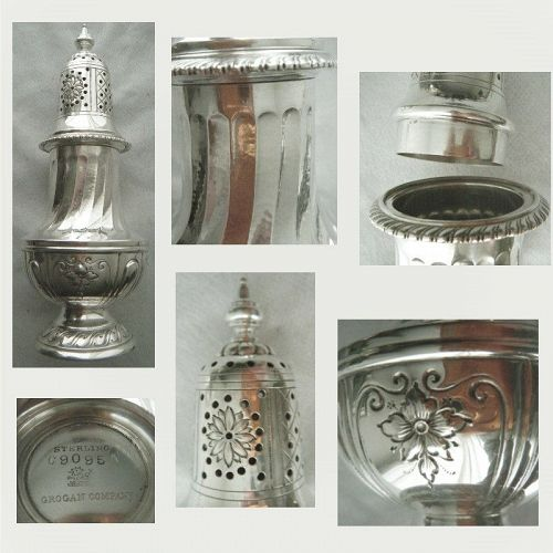Redlich for Grogan Co. Sterling Silver Chased & Hammered Muffineer
