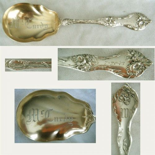 "Reed & Barton ""Cinq Fleurs"" Sterling Silver Berry Serving Spoon"