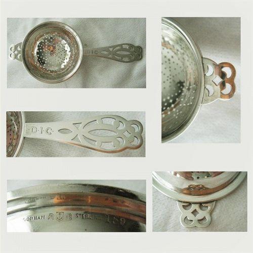 Gorham Arts & Crafts Pierced Handle Sterling Silver Tea Strainer