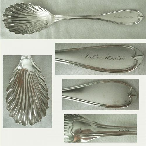 "Tice & Co., Brooklyn, ""Oval Thread"" Coin Silver Shell Bowl Berry Spoon"