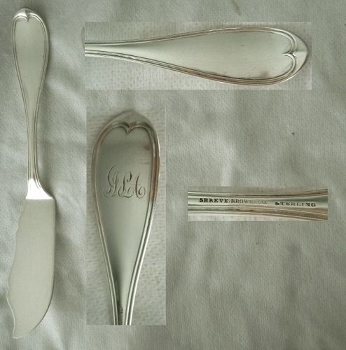 "Shreve, Brown & Co. ""Oval Thread"" Sterling Silver Master Butter Knife"