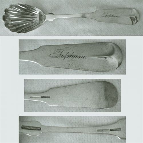 """B. Pitman, New Bedford MA, """"Tipt"""" Pure Coin Silver Shell Bowl Spoon"""