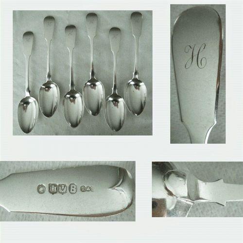 "Edinburgh L&S 6 ""Reverse Tipt"" Victorian Sterling Silver Place Spoons"